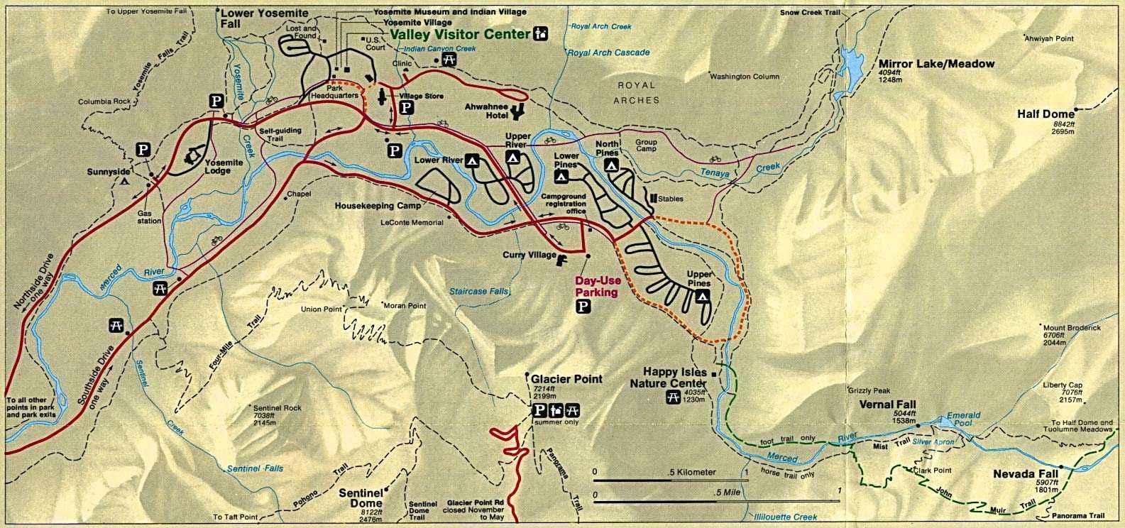 Cartina Yosemite National Park.Mappe California Nevada